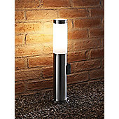 Auraglow Outdoor IP44 Stainless Steel Post Light With 240v Power Outlet Plug Socket - Warm White