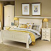 Happy Beds La Rochelle Stone White Wooden Bed Memory Foam Mattress 4ft6 Double