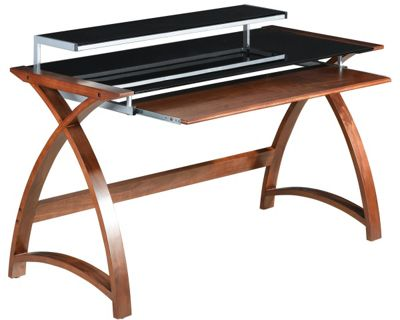 Jual Curve - Curved Compact Walnut and Black Desk