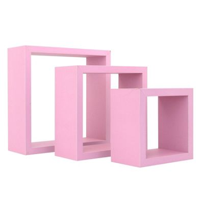 Square Floating Wooden Wall Storage Display Shelves 3 Sizes Pink Set of 3