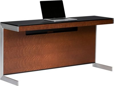 Sequel 6002 Desk in Natural Stained Cherry with Glass Top