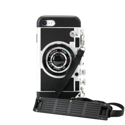 iPhone 8 Plus iPhoto Retro Camera Case With Strap & Changeable Back - Silver