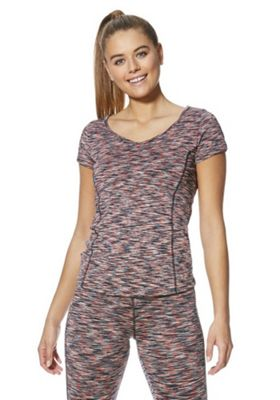 F&F Active Space Dye Cap Sleeve T-Shirt Coral Multi M