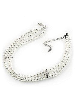 3 Strand White Glass Pearl Fashion Choker (6mm)