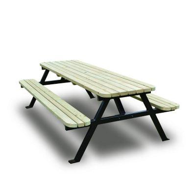 Oakham steel rounded picnic bench - 5ft