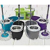 Clifford James Dual Bucket Microfiber Spin Mop Set - Purple