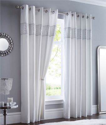 Shimmer eyelet curtains - white - 66 x 90