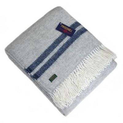 Tweedmill Textiles 100% Pure Wool Blanket Fishbone Design in Grey with Navy Stripe