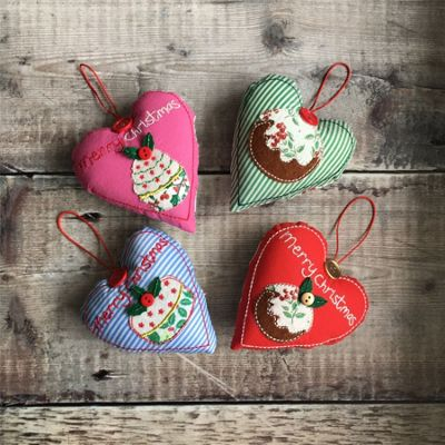 Set of Four Fabric Hearts Decorations