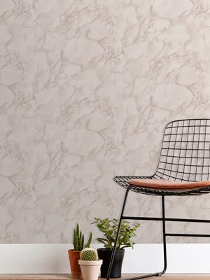 Marblesque Plain Rose Pink Marble Wallpaper Fine Decor FD42275