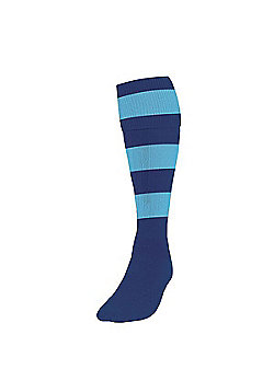 Precision Training Club Weight Stretch Nylon Hooped Football Socks - Navy & sky blue