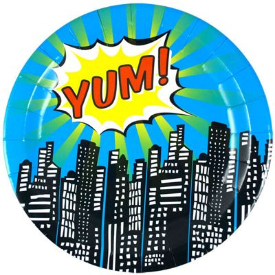 Pop Art Superhero Plates - 23cm Paper Party Plates - 8 Pack