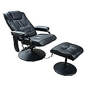 Homcom Faux Leather Massage Recliner Chair Armchair with Foot Stool Black