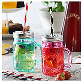 Set of 4 Kilner Plastic Drinking Straws Striped Reusable - 9""