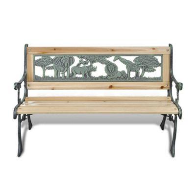 Kids Wooden Garden Bench with Animal Design
