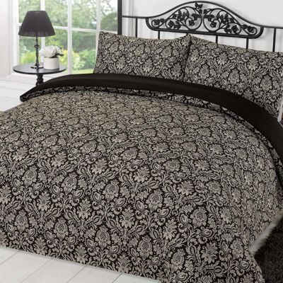Damask Quilt Cover with Pillowcase Set Sanctuary Black Grey - Single