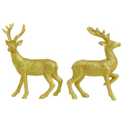 Set of 2 14cm Gold Glitter Polyresin Stag Christmas Ornaments