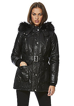 F&F Wax Effect Shower Resistant Belted Jacket - Black