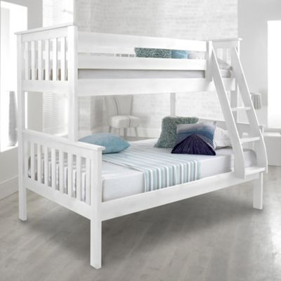 Happy Beds Atlantis Wood Kids Triple Sleeper Bunk Bed with 2 Memory Foam Mattresses - White - 4ft Small Double