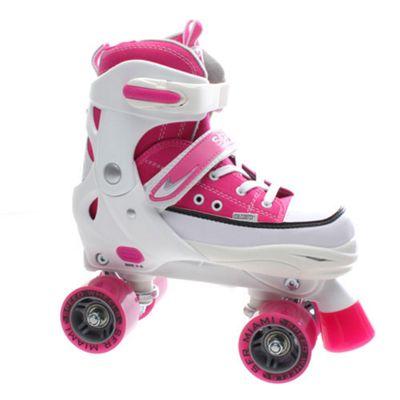 SFR Miami Adjustable Quad Roller Skates - Pink / White - Large (UK 3- UK 6)