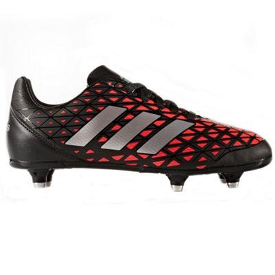 adidas Kakari SG Soft Ground Kids Rugby Boot Shoe Black/ Red - UK 3
