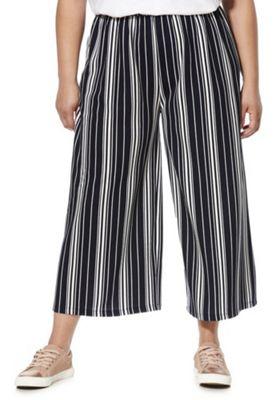 Izabel Curve Striped Plus Size Culottes Black/White 18