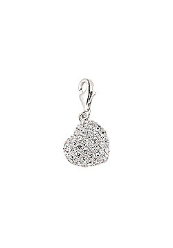 Rhodium Coated Sterling Silver CZ Heart Pendant