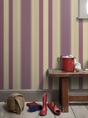 Palazzo Stripe Wallpaper Mulberry and Gold Arthouse 290500