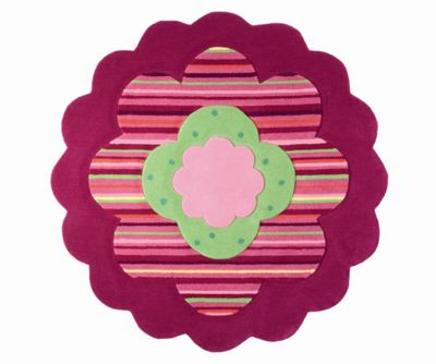Esprit Flower Shape Pink / Green Kids Round Rug