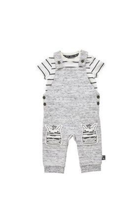 F&F Bodysuit and Zebra Applique Dungarees Set Grey 0-1 months