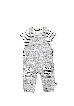 F&F Bodysuit and Zebra Applique Dungarees Set - Grey