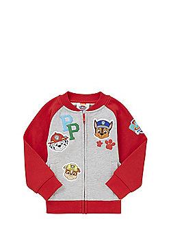 Nickelodeon Paw Patrol Badge Jersey Bomber Jacket - Grey & Red