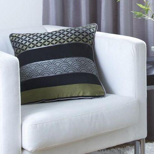 Dreams N Drapes Curtina Newton Single Cushion Cover in Black