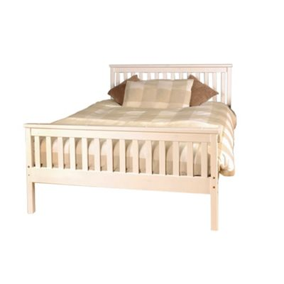 Comfy Living 4ft6 Double Slatted Bed Frame in White with Sprung Mattress