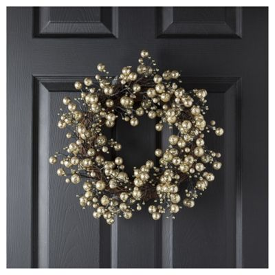 Tesco Gold Ball Wreath, 35cm