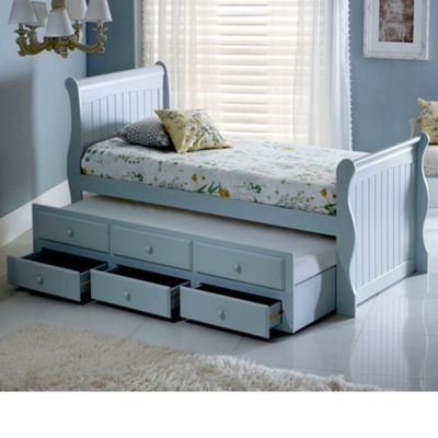 Happy Beds Meadow Wood Guest Bed and Underbed Trundle with 2 Memory Foam Mattresses - Grey - 3ft Single