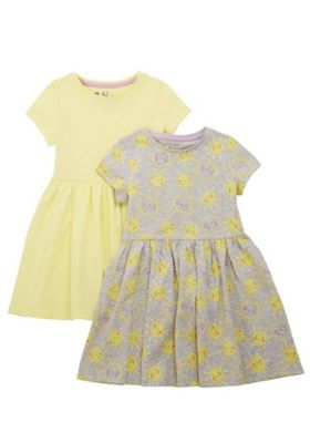F&F 2 Pack of Sunshine Print and Plain Skater Dresses Multi 3-4 years