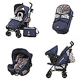 Obaby Zeal Stroller 3 in 1 Pram Travel System Bundle - Little Sailor