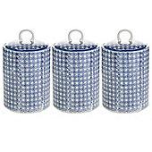 Nicola Spring Porcelain Biscuit Cookie Barrel Jar in Blue Flower Print - Pack of 3