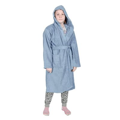 Homescapes Blue 100% Combed Egyptian Cotton Hooded Kids Bathrobe, Large