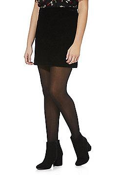F&F Quilted Velvet Skirt - Black