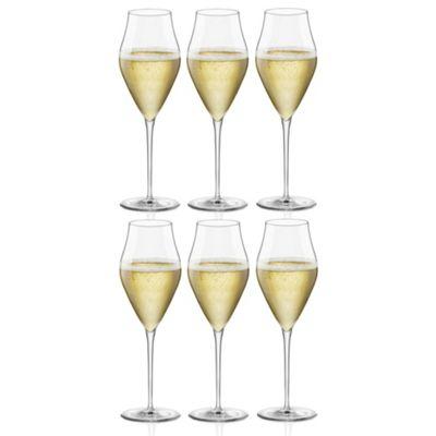 Bormioli Rocco Inalto Arte Champagne Flutes - Gift box Of 6 Glasses - 320ml (10.75oz)