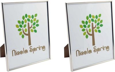 Nicola Spring Silver Metal 8x10 Photo Frame - Standing - Pack Of 2