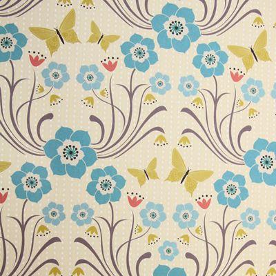 Rosehip Gift Wrap - Green Butterflies/Blue Flowers