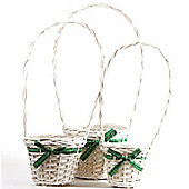 Wicker Basket x 3 - White & Green