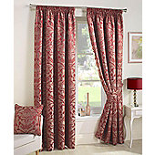 Curtina Crompton Damask Jacquard Pencil Pleat Lined Curtains, Red, 90 x 108 Inch