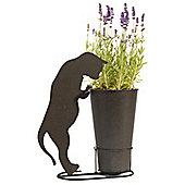 Tall Plant Pot with Stand and Charming Cat Silhouette