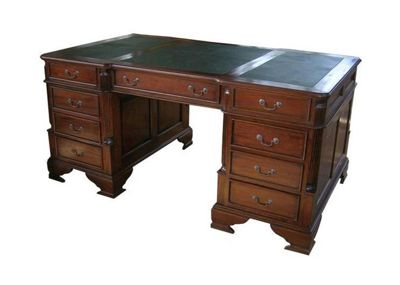 Lock stock and barrel Mahogany Large Partners Desk with Leather Top in Mahogany
