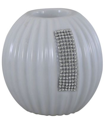 Medium White Glaze And Silver Gem Tealight Holder