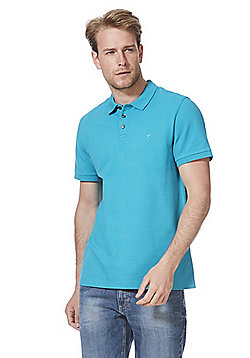 F&F Pique Short Sleeve Polo Shirt with As New Technology - Teal